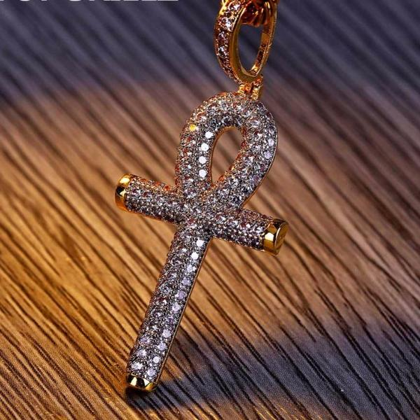 All Iced Out Micro Pave Ankh Cross Pendant Necklaces With 60cm Rope Chain