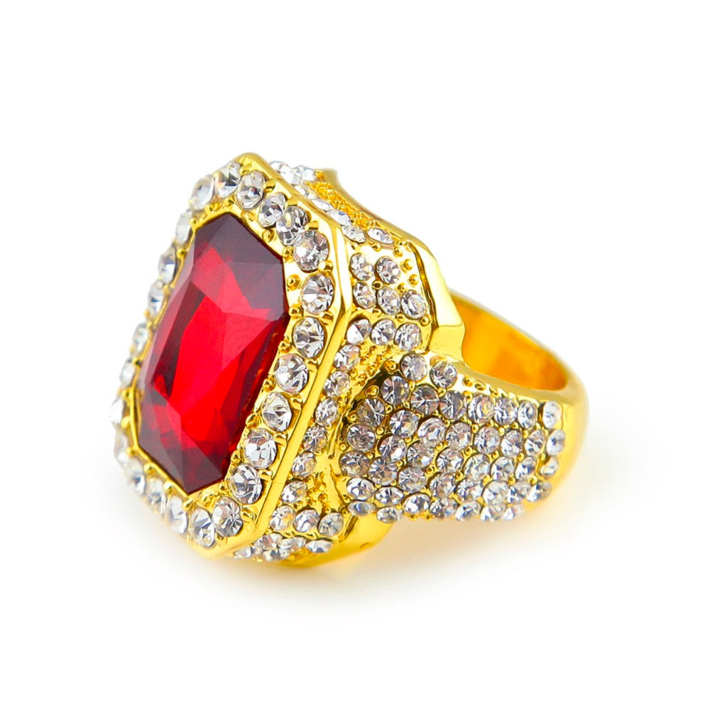Iced Red Stone Cz Ring