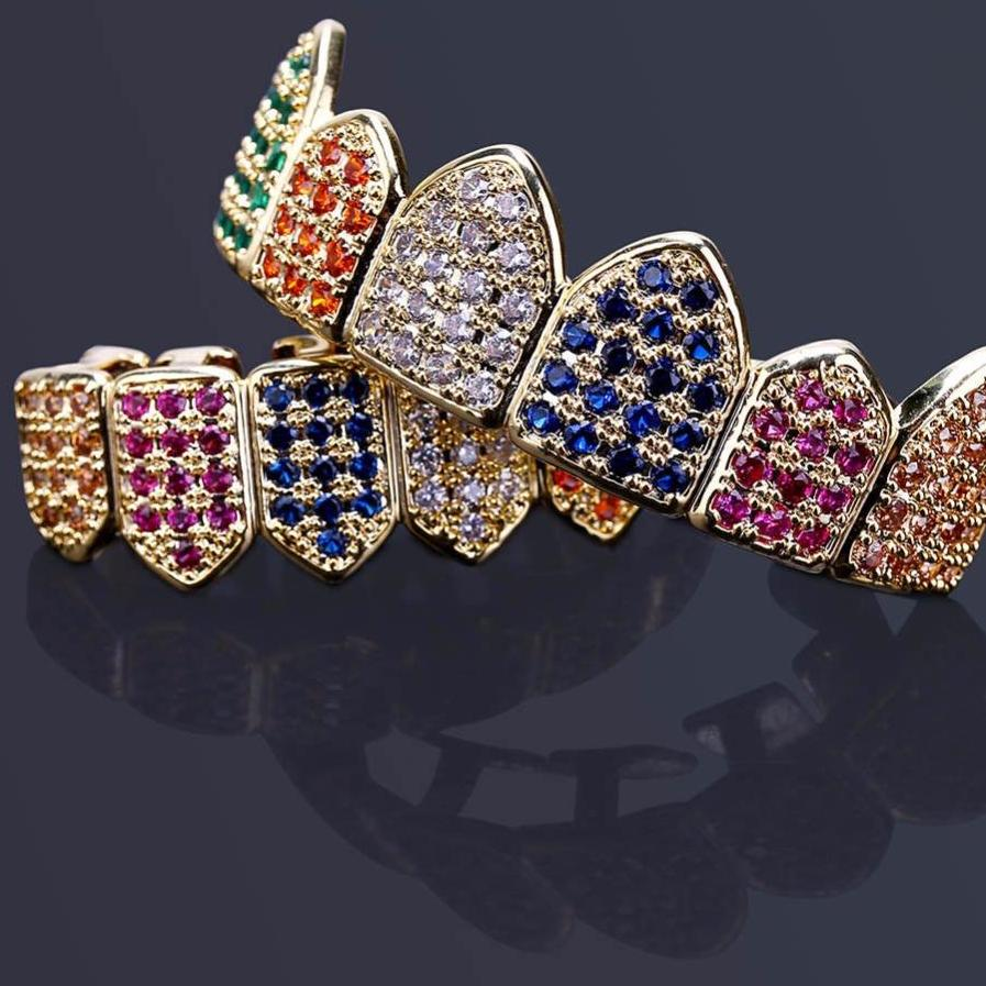 Multi-Color Micro Pave CZ Bling Cubic Zirconia Custom Grillz