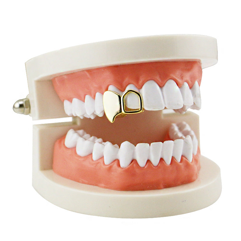 Gold Double Cap Fang Grillz Custom Fit