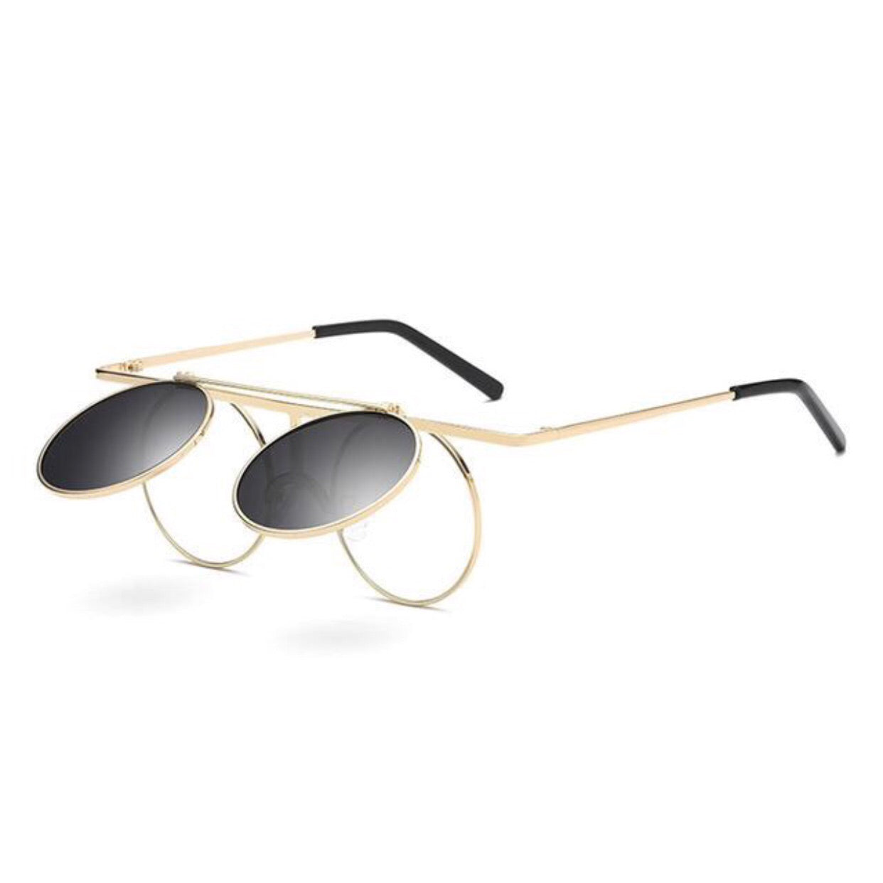 Round Designer Flip-Up Sunglasses