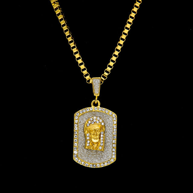 Iced Out Jesus Dog Tag pendant necklace