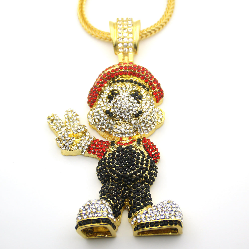 Iced Out Mario Pendant W/ 36inch Franco Chain