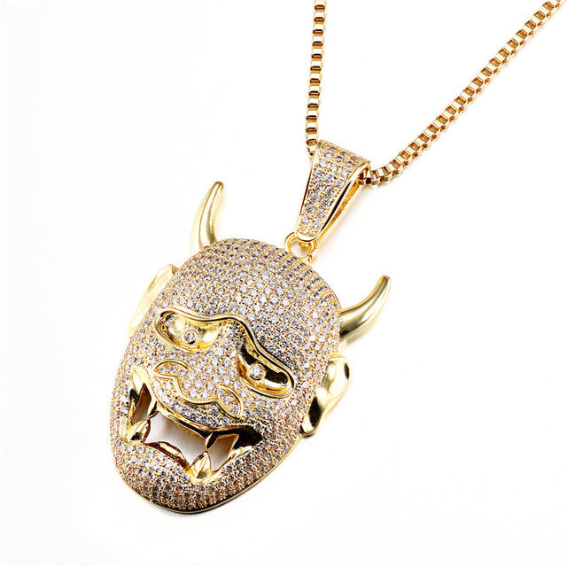 Iced Out Japanese Prajna Mask Chain