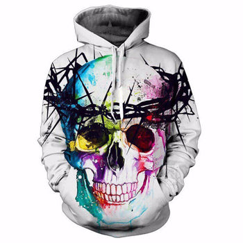 Crown Of Thorns Skull Hoodies