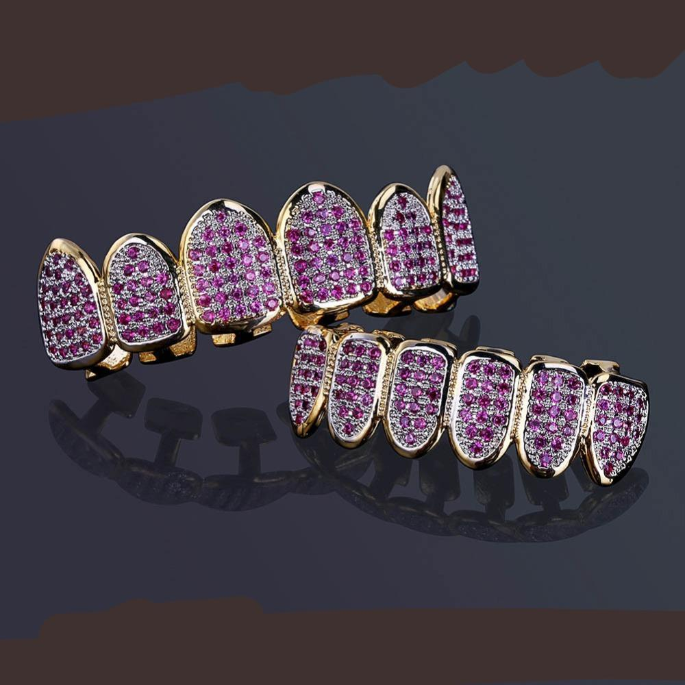 Pave Fuchsia Cubic Zirconia Top & Bottom Grills Set Custom Fit