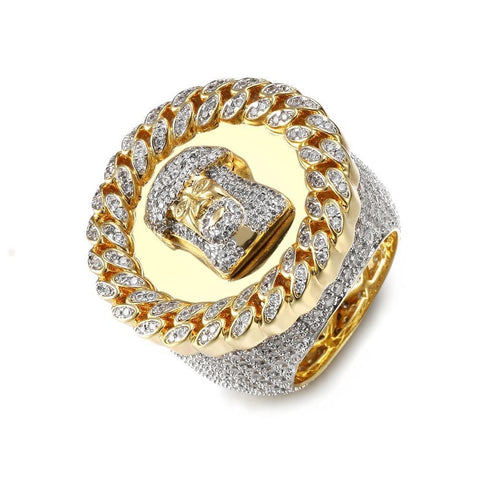 3 Row Band Ring With Rhinestones