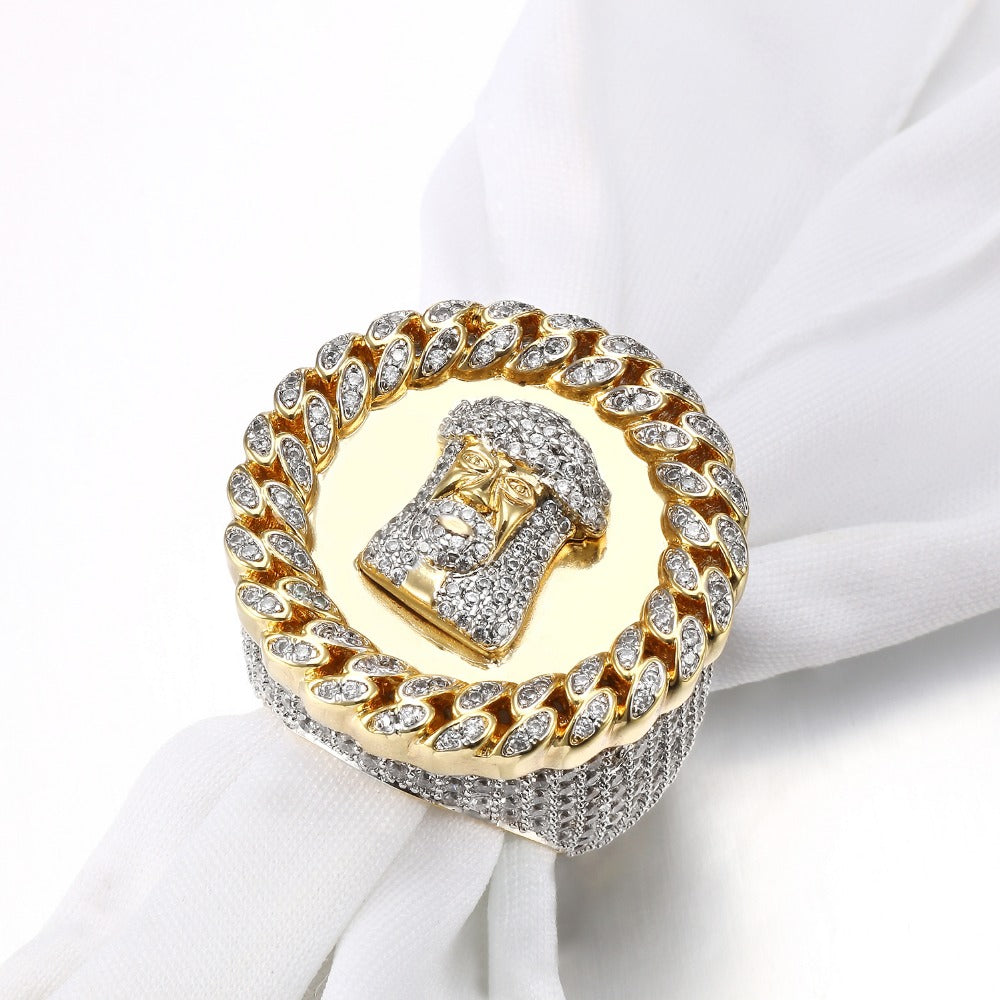 Jesus Face Crystal Paved Iced Ring