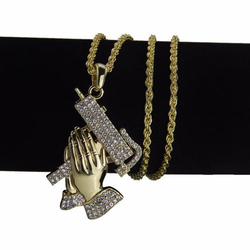 Iced Out Praying Hands Pray For The Streets Chain