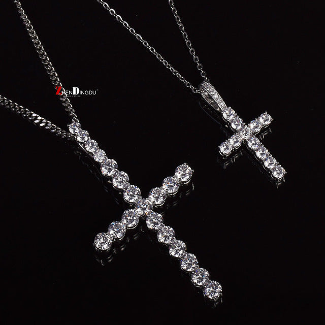 Two Iced Cross Necklace Set