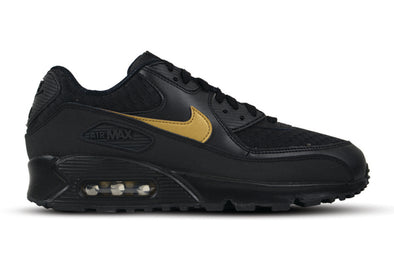 "NIKE AIR MAX 90 ESSENTIAL ""BLACK /  METALLIC GOLD"""