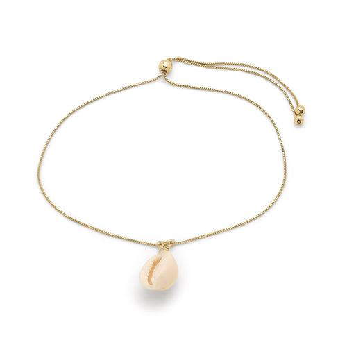 Ankle chain : Aki_PI : Gold Plated : White