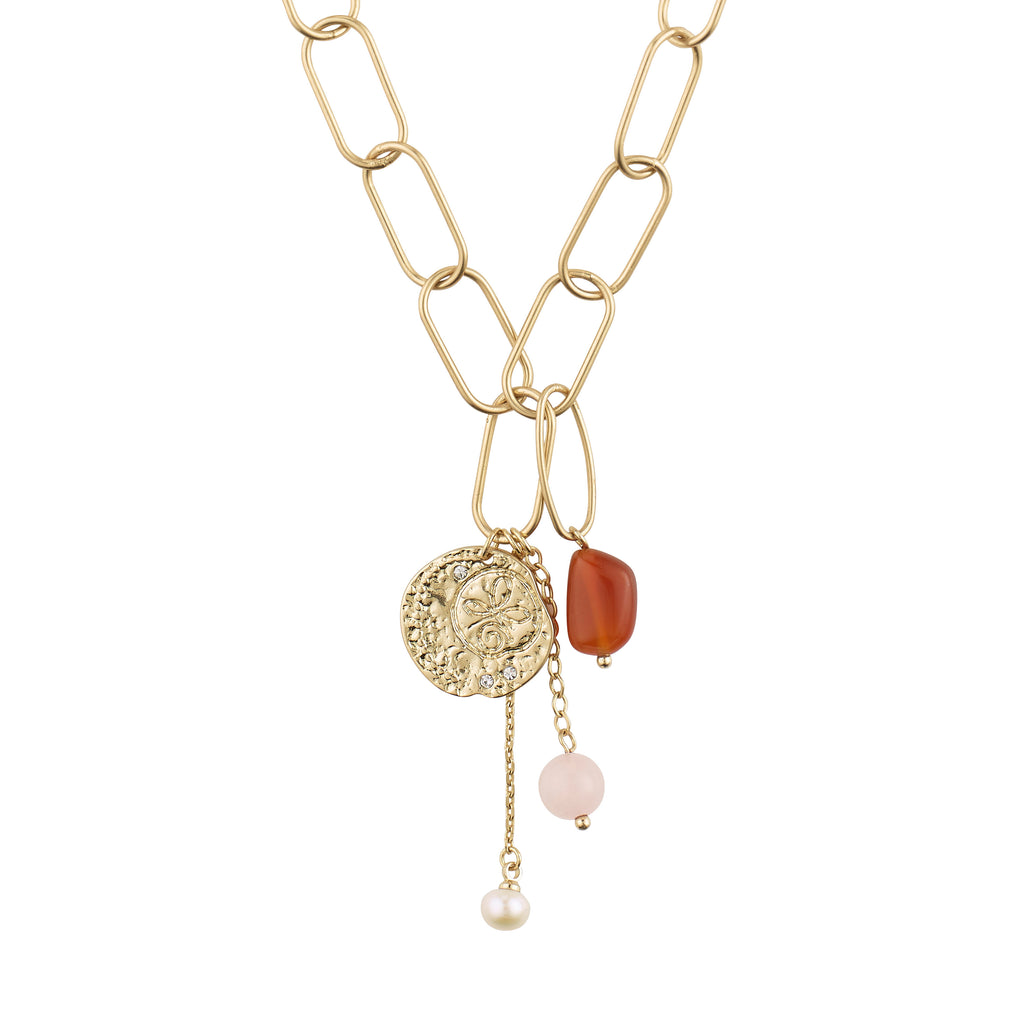Necklace : Warmth : Gold Plated : Brown