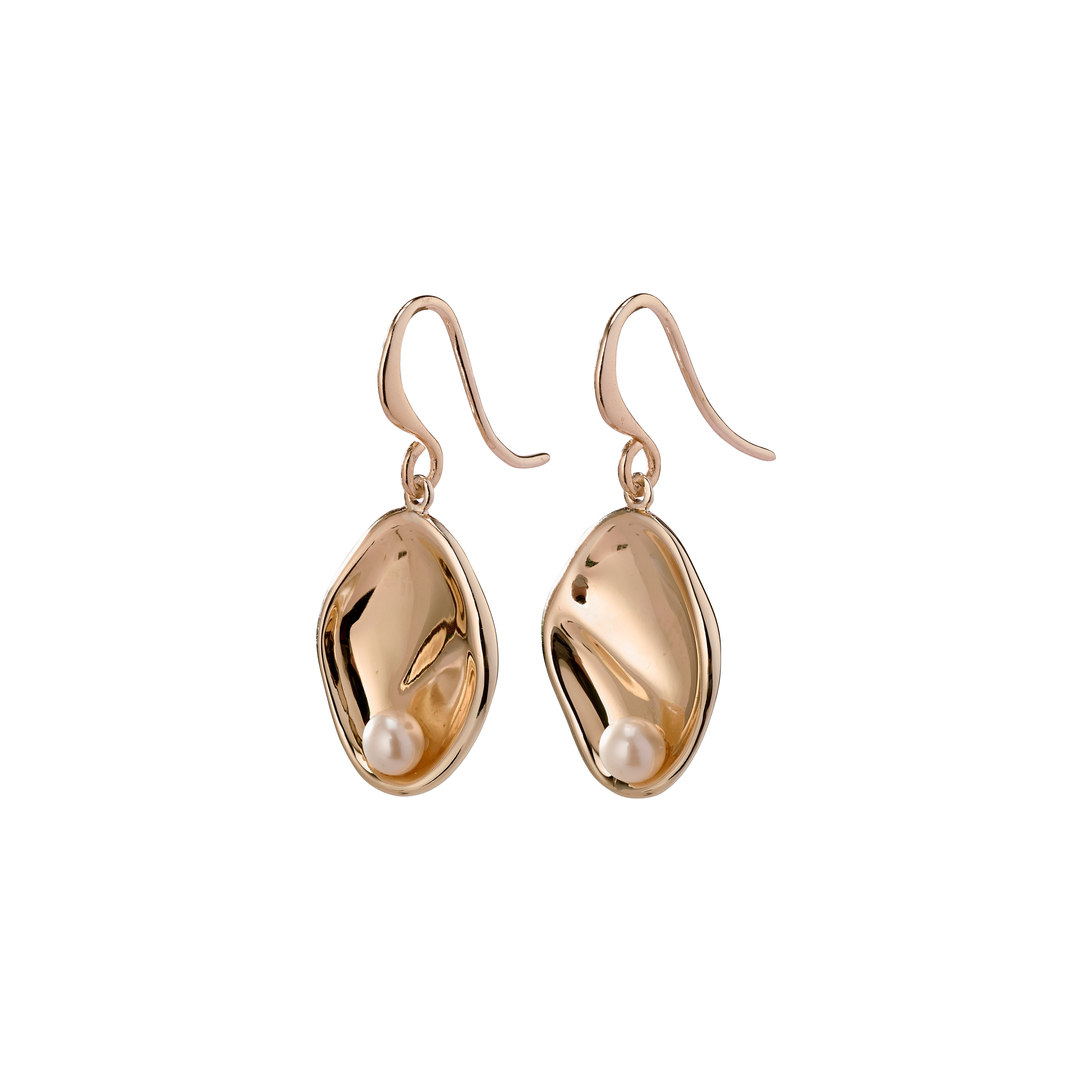 Earrings : Warmth : Rose Gold Plated : White
