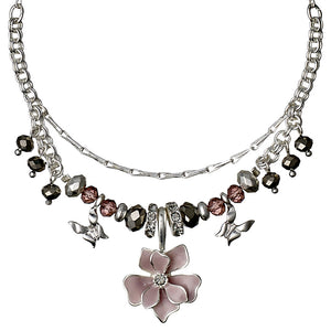 Necklace : Sweetie : Silver Plated : Pink