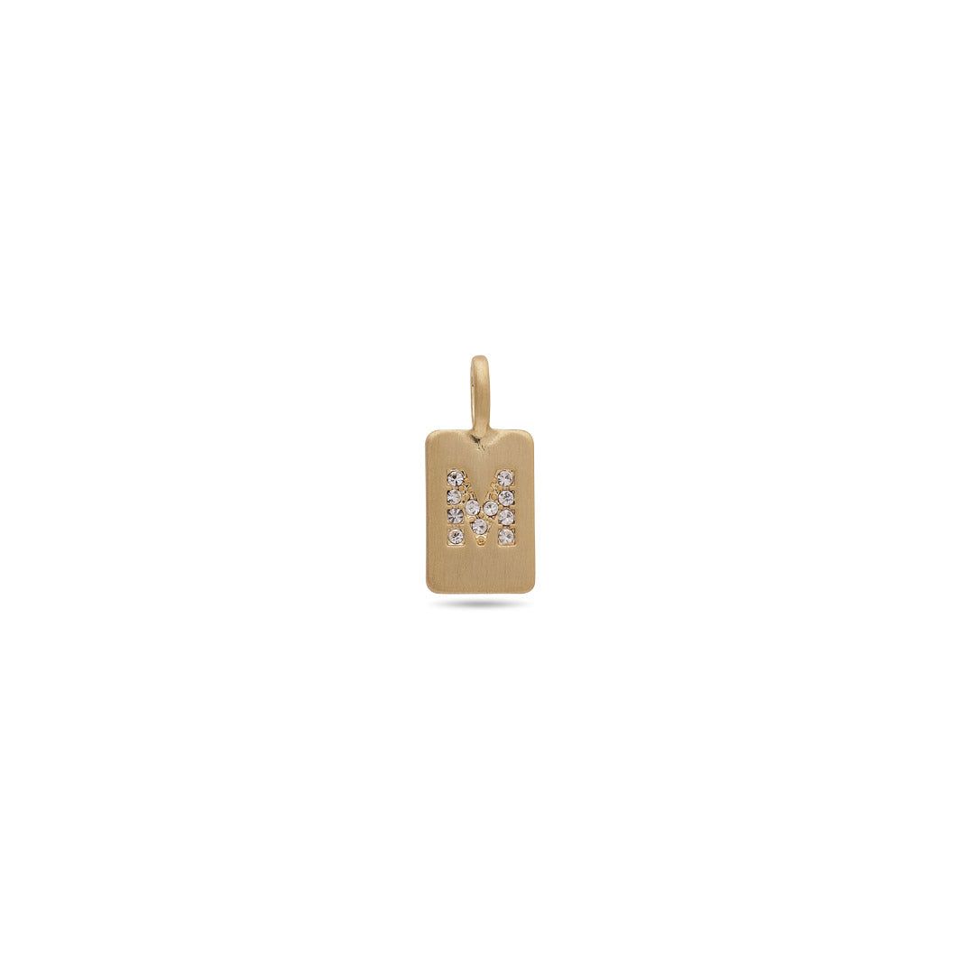 Pendant : Letter pendant : Gold Plated : Crystal : M