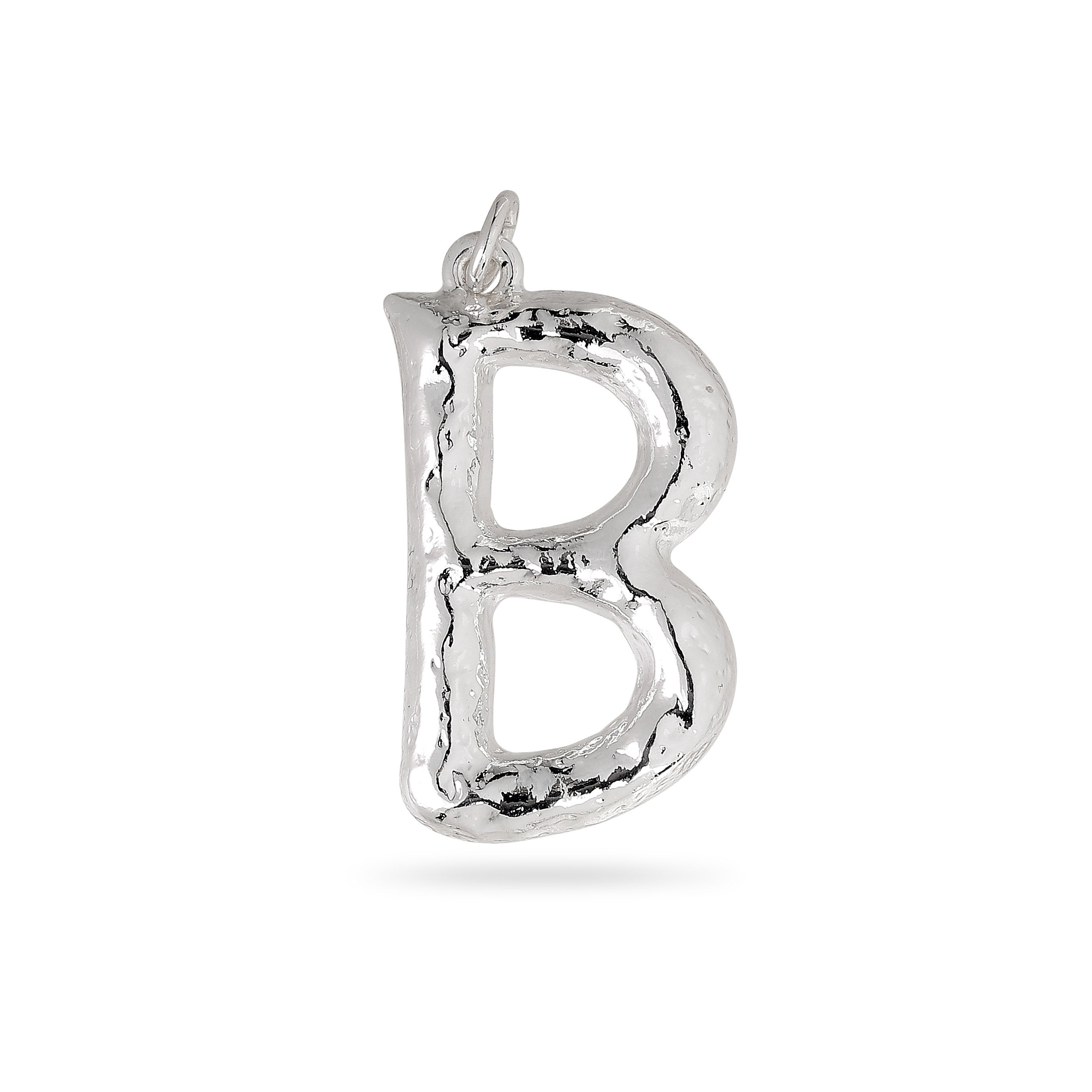 Pendant : Big letter pendant : Silver Plated : B