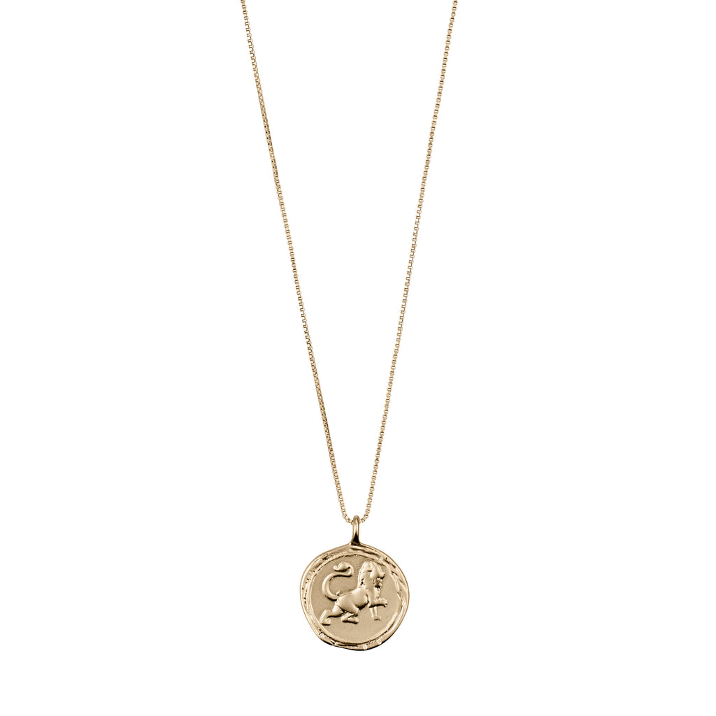 Necklace : Leo Zodiac Sign : Gold Plated : Crystal