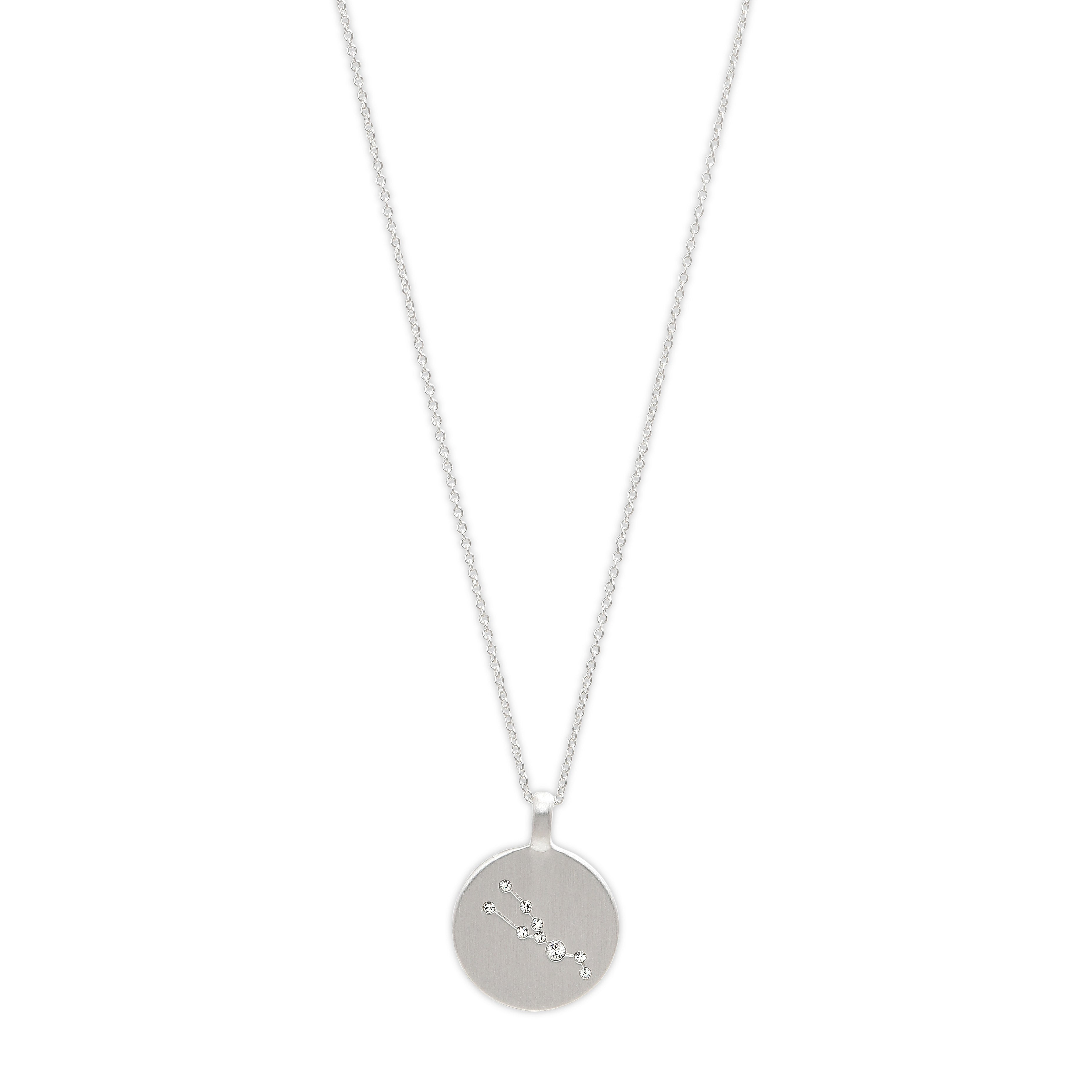 Necklace : Taurus Zodiac Sign : Silver Plated : Crystal