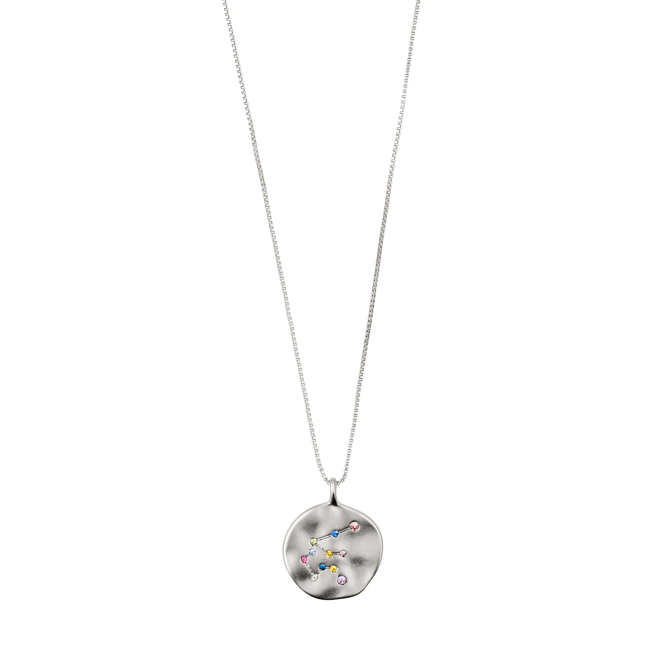 Necklace : Aquarius Zodiac Sign : Silver Plated : Multi