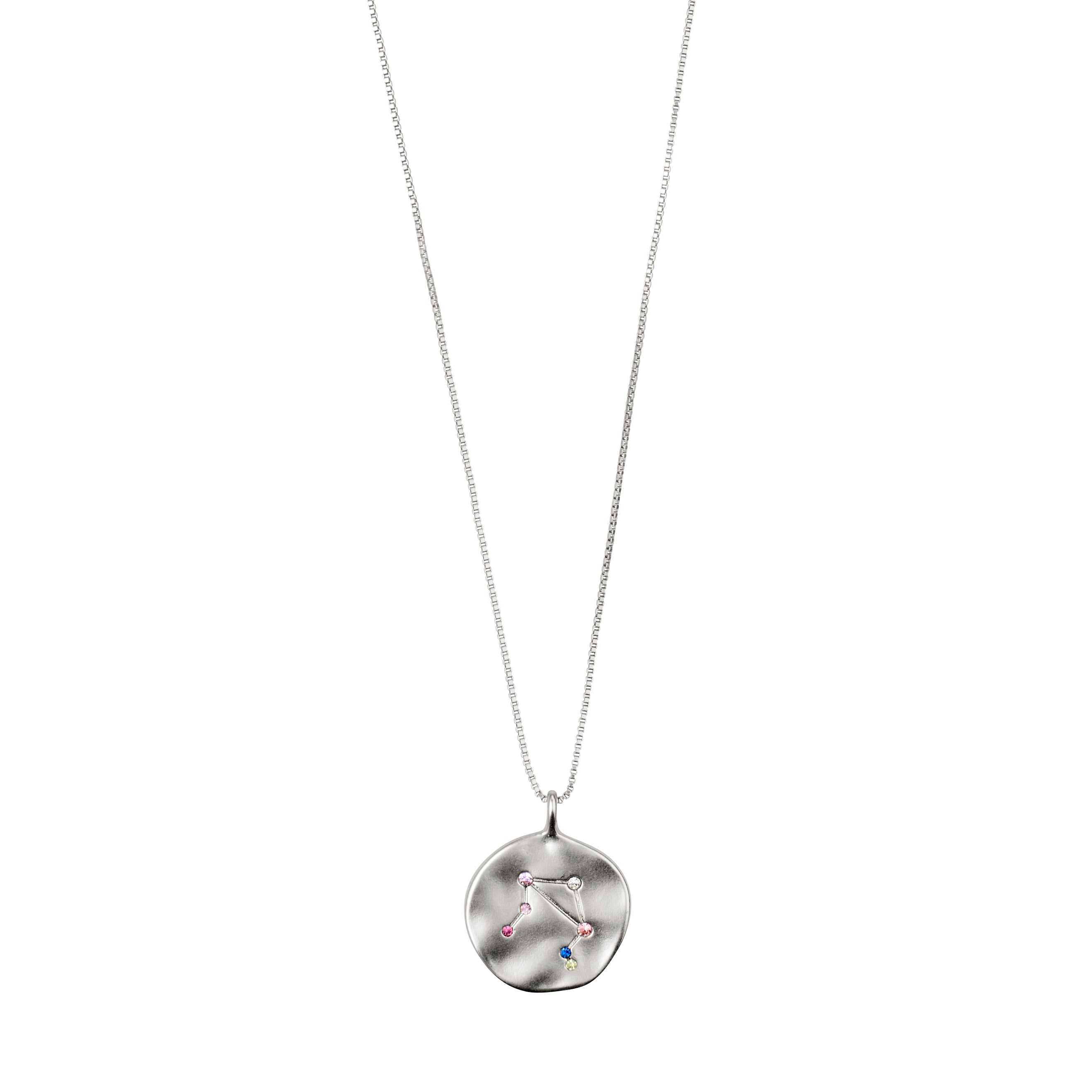 Necklace : Libra Zodiac Sign : Silver Plated : Multi