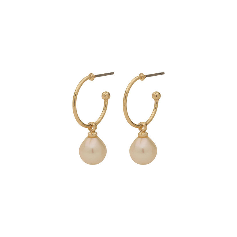 Earrings : Eila : Gold Plated : White