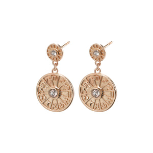 Earrings : Fia : Rose Gold Plated : Crystal