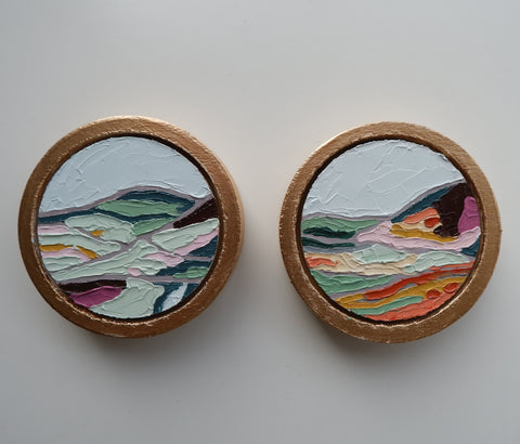 framed custom mini circle oil paintings by artist katrina berg of the candy colored studio