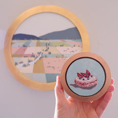 custom framed mini circle oil painting by artist katrina berg of the candy colored studio