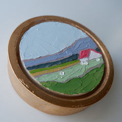 framed custom mini circle oil painting by artist katrina berg of the candy colored studio