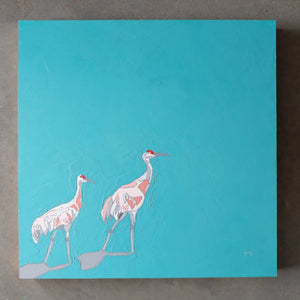 "sandhill in teal (20""x20"")"