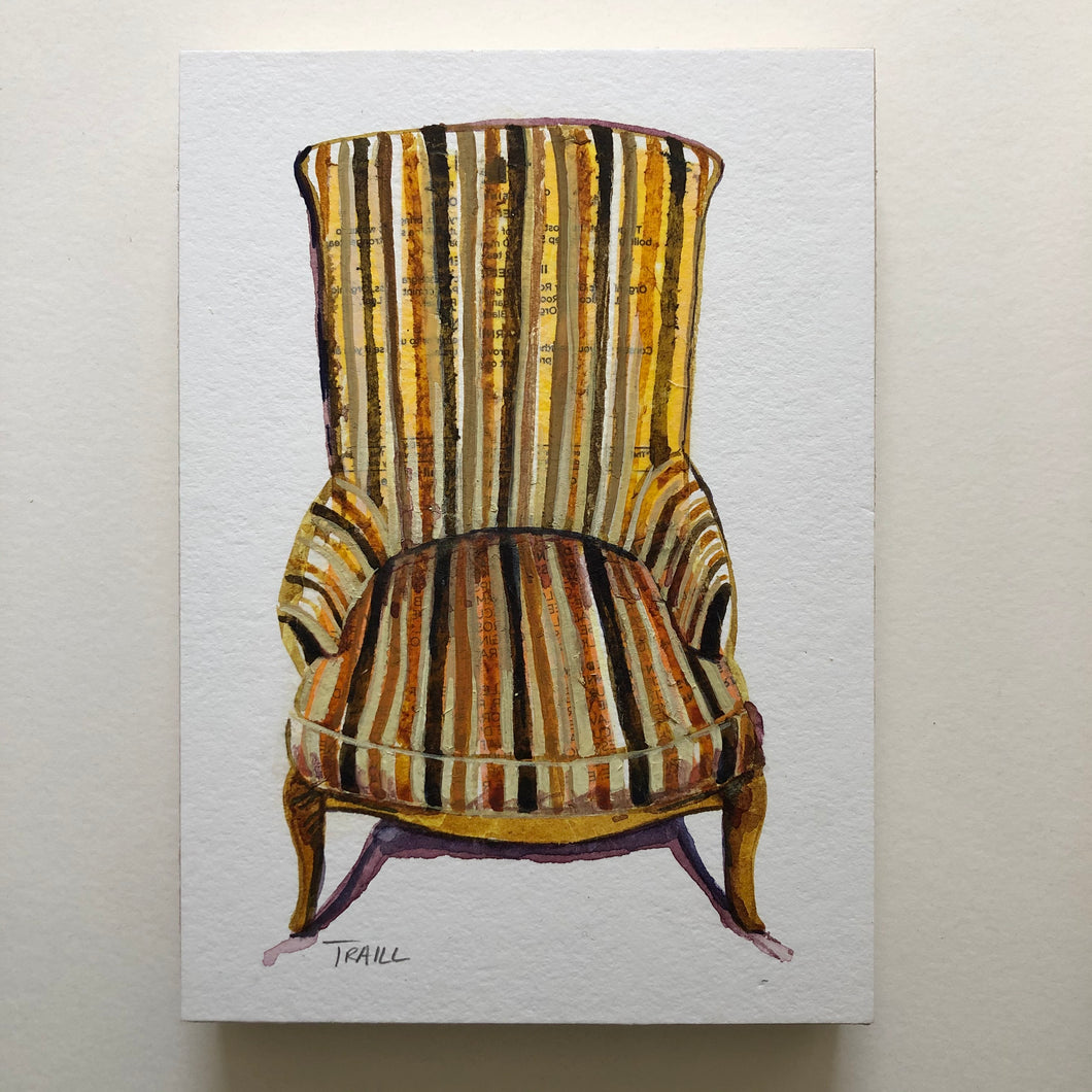 "jennie traill schaeffer - ""lemon striped seat"" (5"" x 7"")"