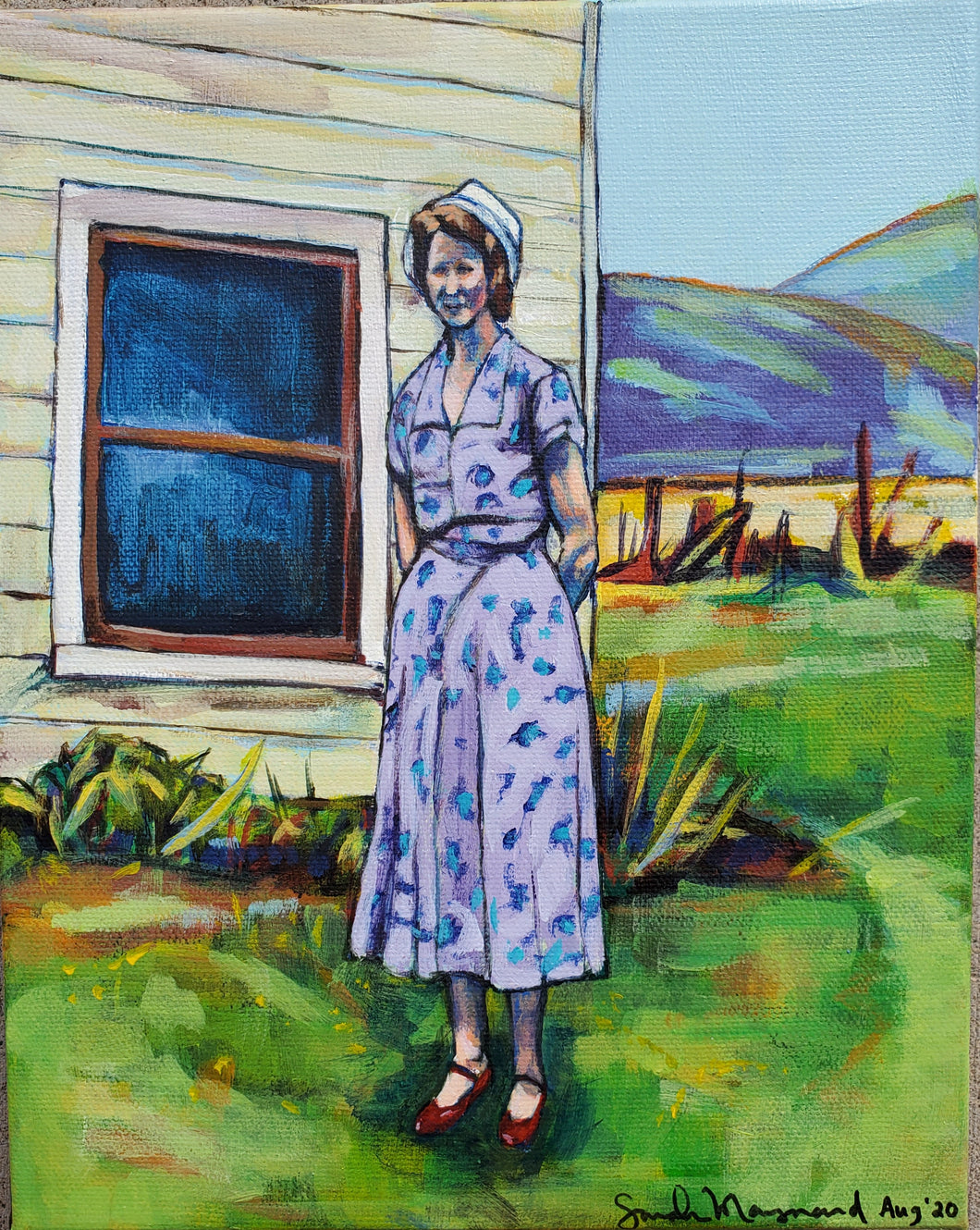 "sarah maynard - ""woman by house"" (8 x 10"")"