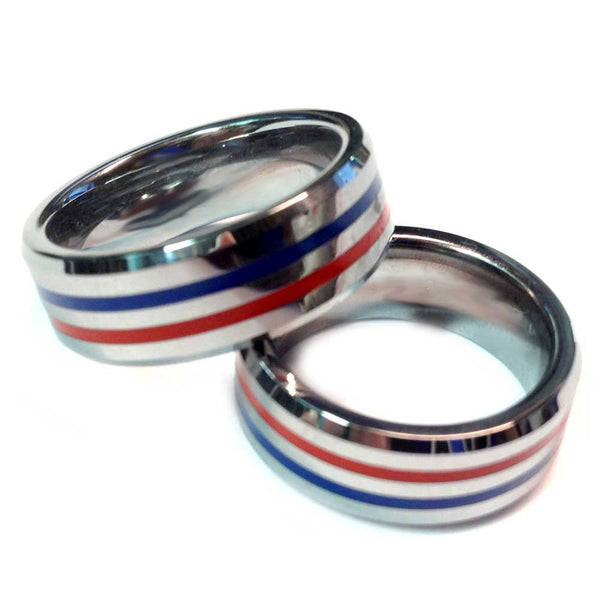 Thin Red and Blue Line Ring - Dual Professionals (Fire and Police or Fire and EMS) Silver Tungsten Carbide