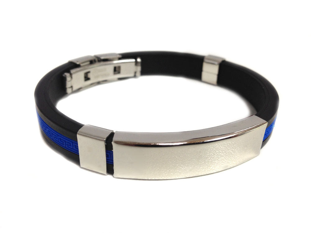 Thin Blue Line Hard Silicone I.D. Police Bracelet