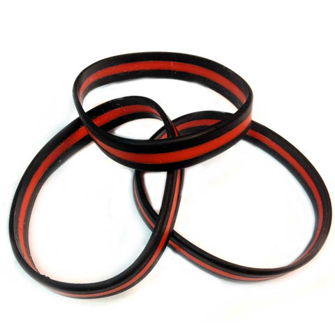 Thin Red Line Silicone Fireman Firefighter Bracelet Pack of 3 Adult Size