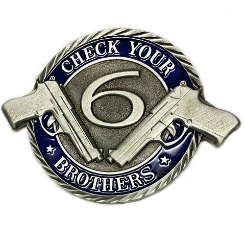 Thin Blue Line Protect Your Brothers Integrity, Honor, Courage Three Inch Challenge Coin