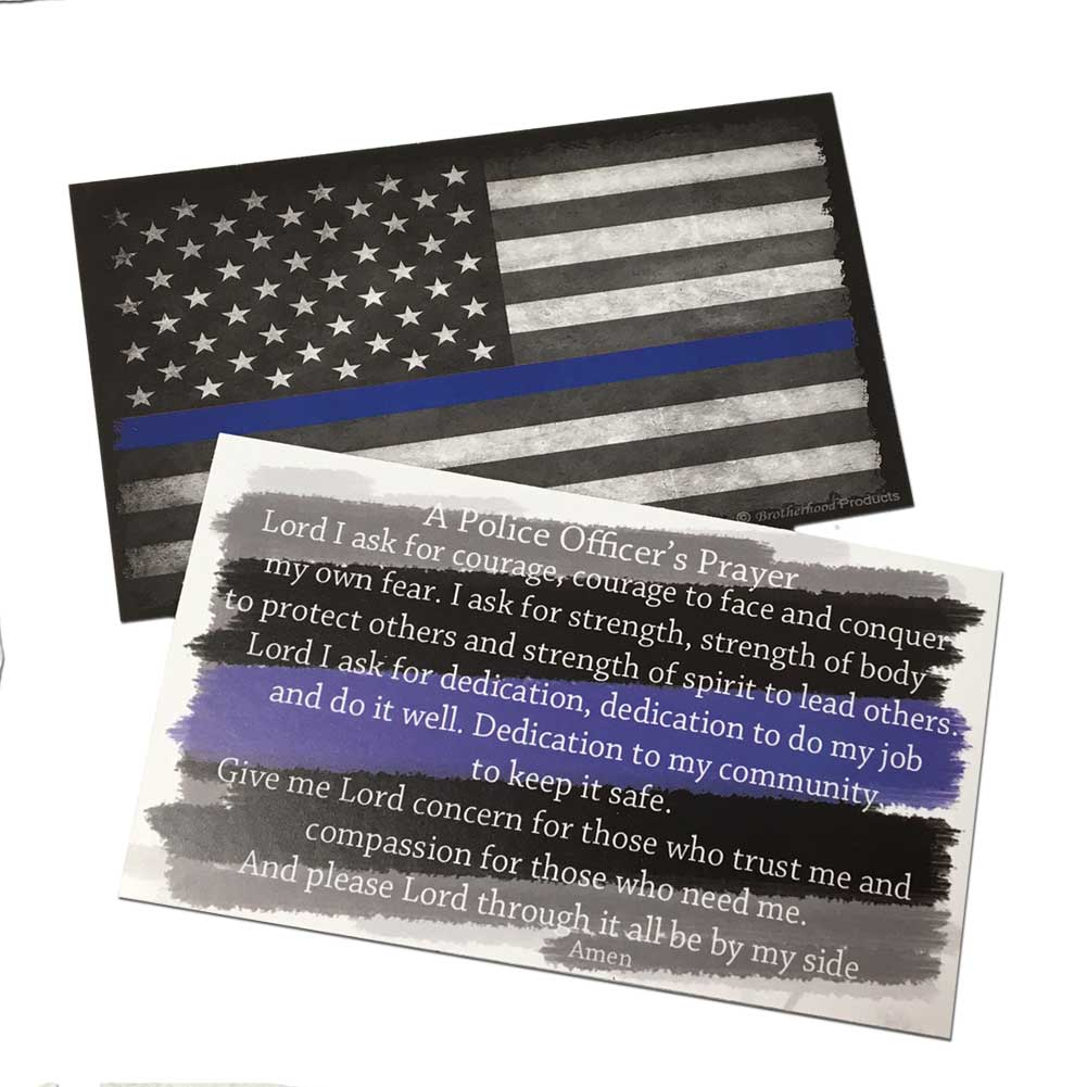 Prayer Cards - Police Officer's Prayer and The Thin Blue Line Subdued American Flag