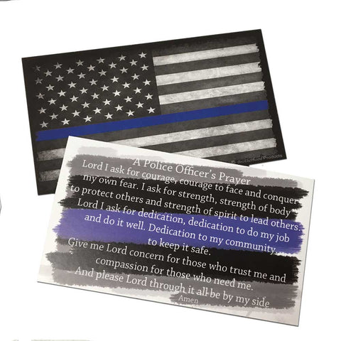 Police Officer's Prayer Cards With A Thin Blue Line American Flag