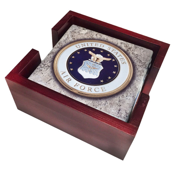 United States Air Force Seal Tumbled Tile Coaster Set and Holder