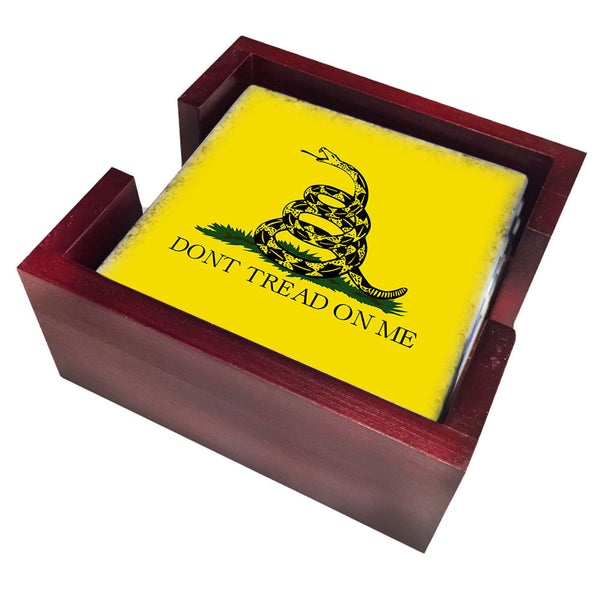 Gadsden Don't Tread On Me Rattlesnake Yellow Flag Design Tile Coaster Set and Holder