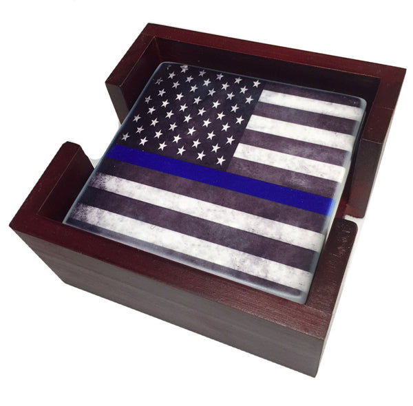 Thin Blue Line Law Enforcement American Flag Tile Coaster Set and Holder