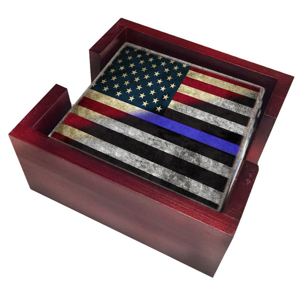 Red White Blue Thin Blue Line Law Enforcement American Flag Tile Coaster Set and Holder