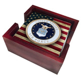 United States Air Force Seal with American Flag Tile Coaster Set and Holder