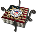 United States Coast Guard Seal on American Flag Tile Coaster Set and Holder