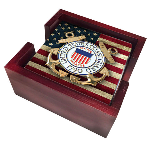 United States Army Coast Guard Seal on American Flag Tile Coaster Set and Holder