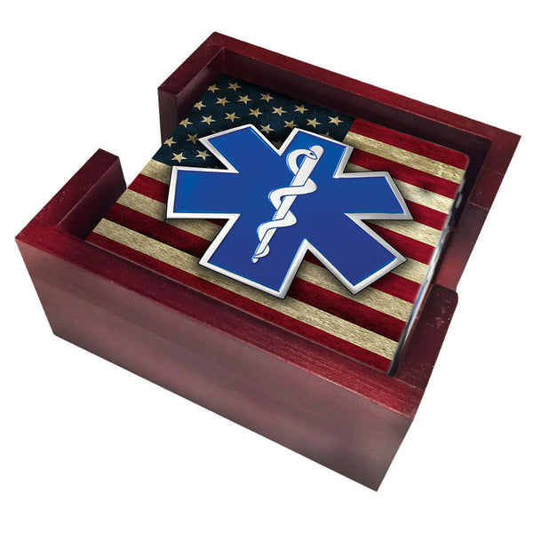Paramedic EMS Star of Life on American Flag Tile Coaster Set and Holder