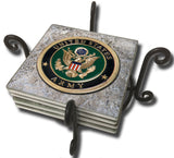 United States Army Seal on the American Flag Tile Coaster Set and Holder