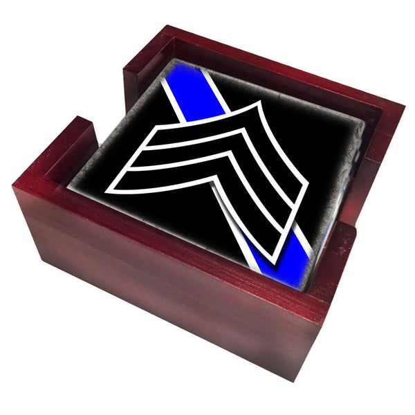 Thin Blue Line Law Enforcement Sergeant Stripes Insignia Tile Coaster Set and Holder