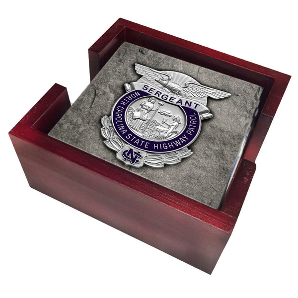 North Carolina State Highway Patrol Ranks Sergeant and Trooper Four Piece Tile Coaster Set